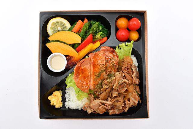 彩り野菜とハムステーキ&ポークジンジャー